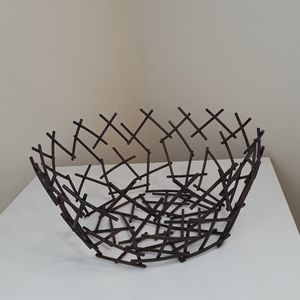 Nest / abstract metalwork fruit bowl